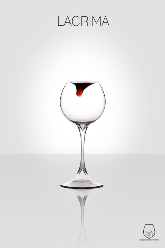 Lacrima, wine glass, cin cin unconventional glasses, Stella Orlandino design