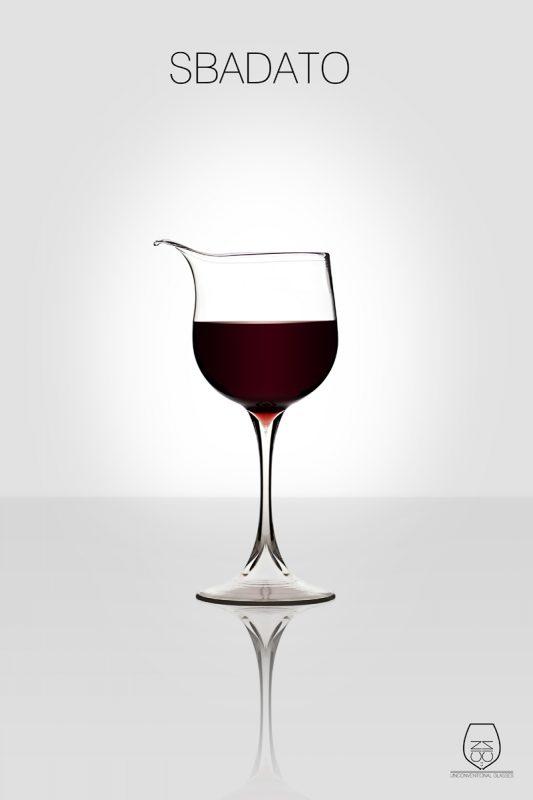Sbadato, wine glass, cin cin unconventional glasses, Stella Orlandino design