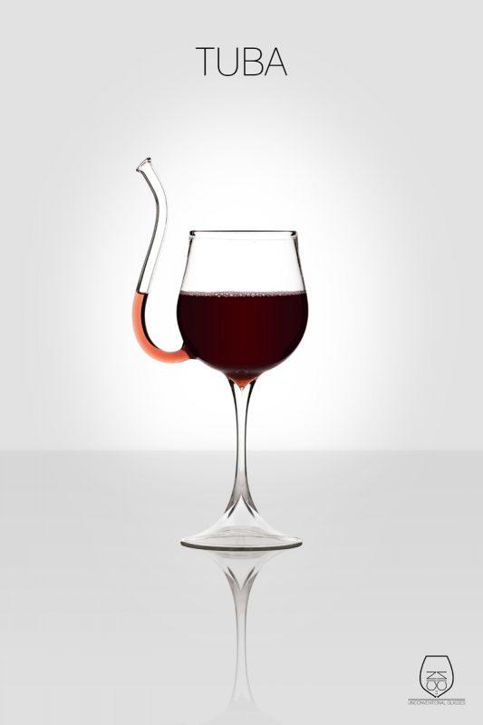 Tuba, wine glass, cin cin unconventional glasses, Stella Orlandino design