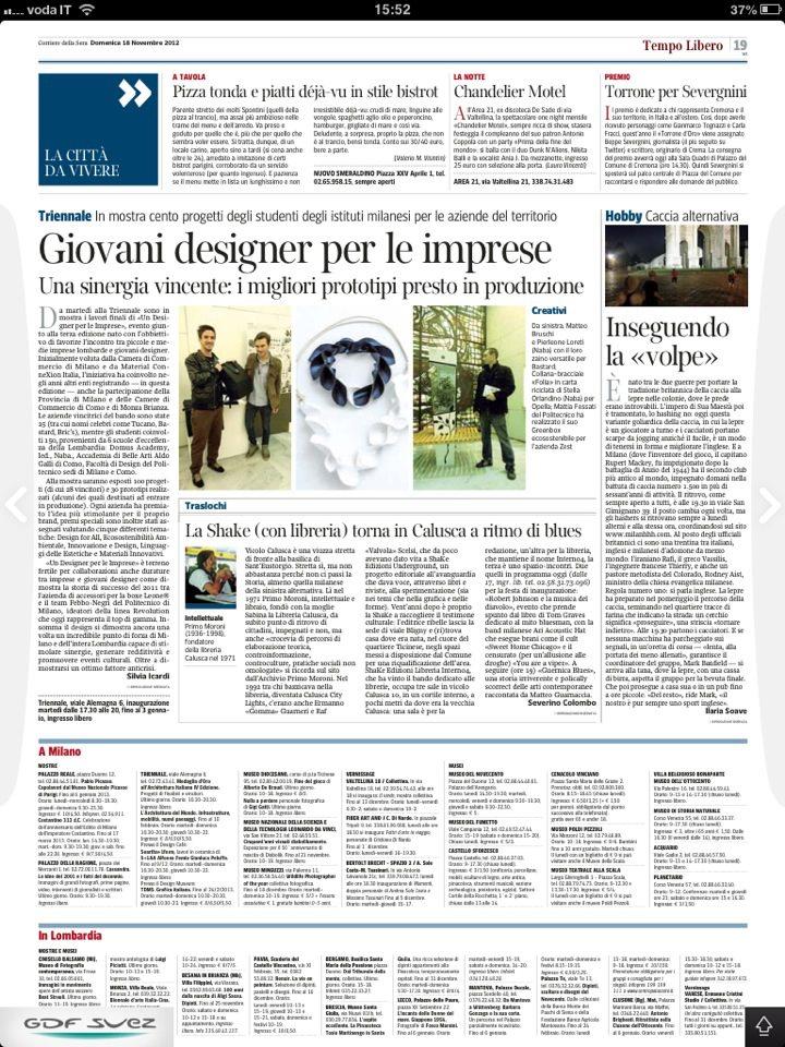Corriere della sera, Folia, Stella Orlandino design